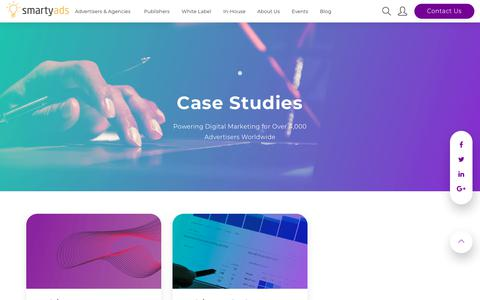 Screenshot of Case Studies Page smartyads.com - Case Studies - captured Oct. 18, 2018