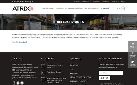 Screenshot of Case Studies Page atrix.com - Find Vacuum Product Manuals | Atrix - captured Dec. 18, 2018