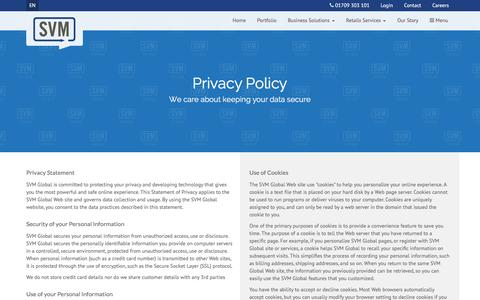 Screenshot of Privacy Page svmeurope.co.uk - Privacy & Cookie Policy | SVM Global - captured Dec. 20, 2015