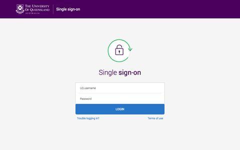 Screenshot of Login Page uq.edu.au - Enter your username and password - The University of Queensland, Australia - captured July 12, 2019
