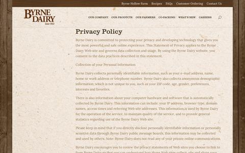 Screenshot of Privacy Page byrnedairy.com - Privacy Policy | Byrne Dairy - captured Dec. 9, 2018