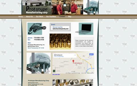 Screenshot of Contact Page Maps & Directions Page prototypemanufacturing.com - Contact Prototype Manufacturing Corp - North Tonawanda, NY - captured Oct. 3, 2014