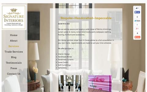 Screenshot of Services Page signature-interiors.co.uk - Signature Interiors Services, - captured Aug. 17, 2015