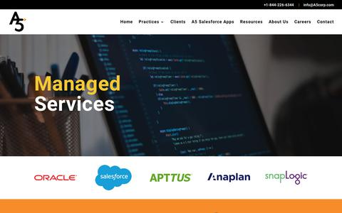 Screenshot of Services Page a5corp.com - Managed Services | A5 Corporation - captured Nov. 11, 2018