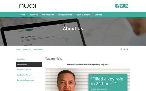 Screenshot of Testimonials Page nvoi.com.au - About Us | Nvoi Ltd - captured Sept. 21, 2018