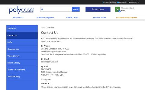 Screenshot of Contact Page polycase.com - Contact Us | Polycase - captured Sept. 28, 2018