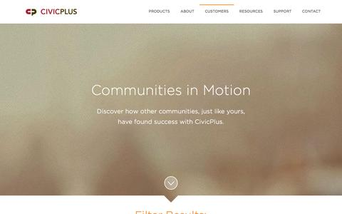 Screenshot of Case Studies Page civicplus.com - Case Studies - captured Jan. 3, 2016