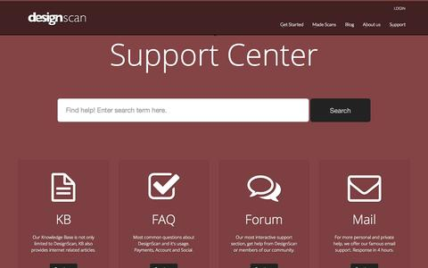 Screenshot of Support Page designscan.me - DesignScan, Get insight in your website | Support Center - captured Oct. 5, 2014