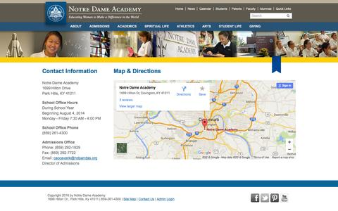 Screenshot of Contact Page ndapandas.org - Notre Dame Academy > Contact Us - captured June 24, 2016