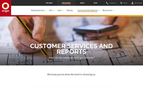 Screenshot of Support Page originenergy.com.au - Commercial and Industrial Energy - Origin Energy - captured June 29, 2016