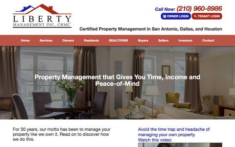 Screenshot of Services Page libertymgt.net - San Antonio Property Management, San Antonio Property Management Companies, San Antonio Property Managers | Liberty Management Inc, CRMC® - captured Aug. 5, 2017
