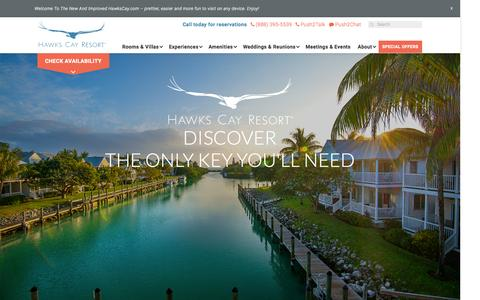 Screenshot of Home Page hawkscay.com - Hawks Cay Resort - captured Oct. 1, 2015