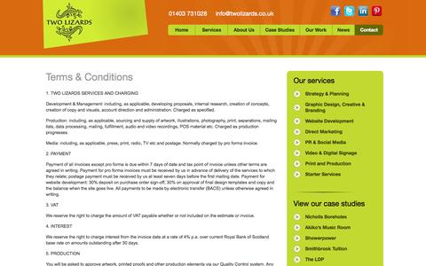 Screenshot of Terms Page twolizards.co.uk - Terms & Conditions - Two Lizards : Two Lizards - captured Sept. 30, 2014