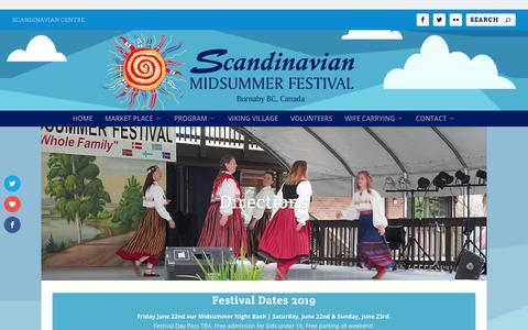 Screenshot of Maps & Directions Page scandinavianmidsummerfestival.com - Directions ⋆ Scandinavian Midsummer Festival | Burnaby, BC - captured Oct. 22, 2018