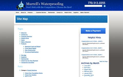 Screenshot of Site Map Page murrellswaterproofing.com - Site Map | Murrell's Waterproofing - captured Oct. 9, 2014