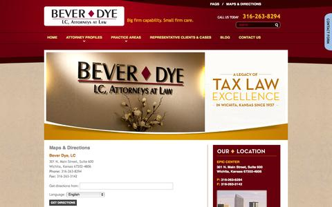 Screenshot of Maps & Directions Page beverdye.com - Maps and Directions to Bever Dye, LC in Wichita, KS - captured Oct. 5, 2014