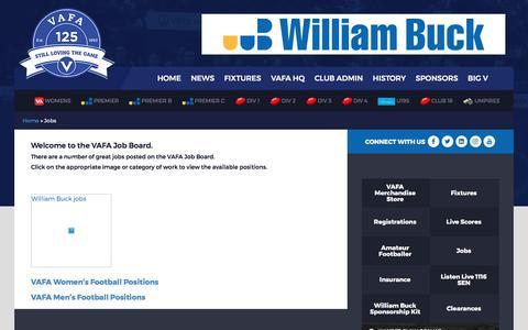 Screenshot of Jobs Page vafa.com.au - Jobs | VAFA - captured Oct. 21, 2017