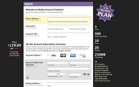 Screenshot of Landing Page wufoo.com - Wufoo · Secure Account Creation - captured Aug. 18, 2016