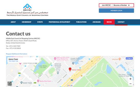 Screenshot of Contact Page mecsc.org - Middle East Council of Shopping Centres - captured Oct. 18, 2018