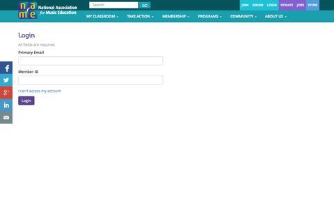 Screenshot of Login Page nafme.org - Login – National Association for Music Education (NAfME) - captured Oct. 27, 2014