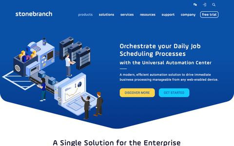 Screenshot of Products Page stonebranch.com - Job Scheduling with the Universal Automation Center | Stonebranch - captured June 17, 2017