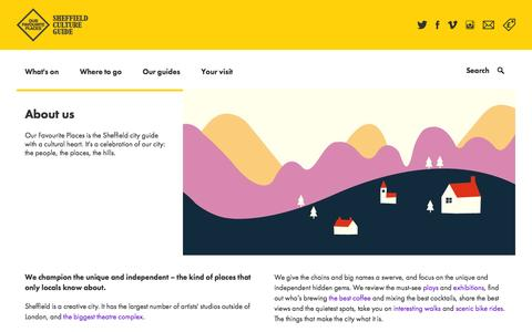 Screenshot of About Page ourfaveplaces.co.uk - About us | Sheffield Culture Guide - captured Oct. 26, 2014