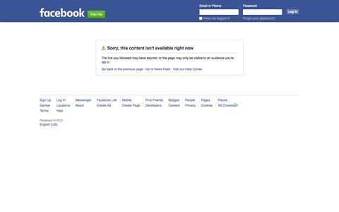 Screenshot of Facebook Page facebook.com - Facebook - captured Nov. 13, 2015