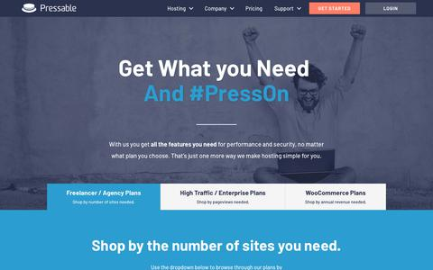 Screenshot of Pricing Page pressable.com - WordPress Hosting Plans from Pressable - captured Nov. 3, 2018