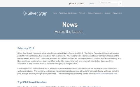 Screenshot of Press Page silverstarbrands.com - News - Silver Star Brands - captured Sept. 12, 2016