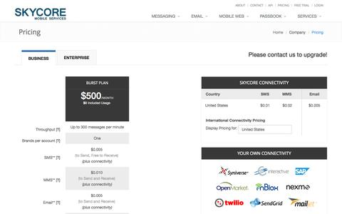 Screenshot of Pricing Page skycore.com - Pricing - captured Sept. 30, 2014