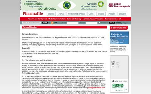Screenshot of Terms Page pharmafile.com - Terms of Service | Pharmafile - captured Sept. 23, 2014