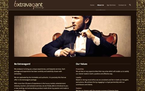 Screenshot of About Page bxtravagant.com - About Us | bxtravagant - feed your ego - captured Oct. 5, 2014
