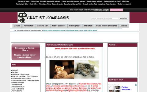 Screenshot of Home Page chat-et-cie.fr - Site sur les chats - Santé féline - Alimentation féline - Psychologie féline - Forum chats - Chat et Compagnie - captured Oct. 31, 2017