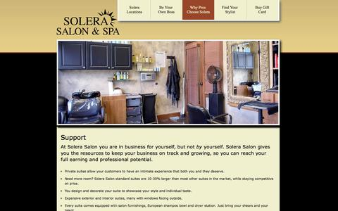 Screenshot of Support Page solerasalon.com - Support | Solera Salon and Spa - captured Oct. 6, 2014