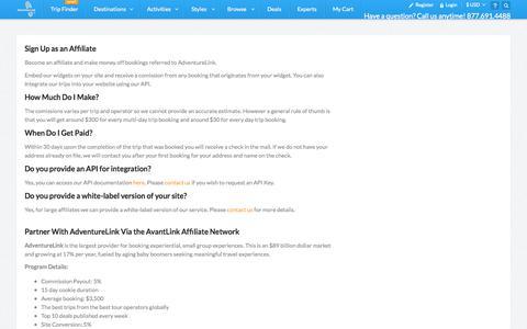 Screenshot of Signup Page adventurelink.com - Affiliates -- Sign Up - captured Sept. 13, 2014