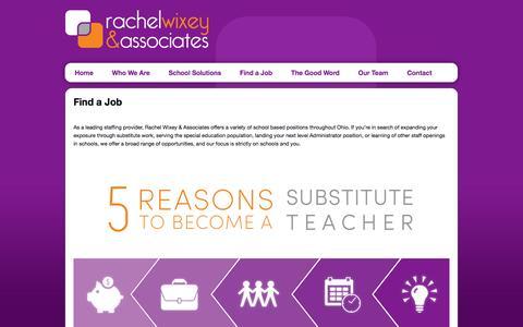 Screenshot of Jobs Page rachelwixey.com - Educational Jobs and Employment | Rachel Wixey & Associates, Inc. - captured Feb. 26, 2016