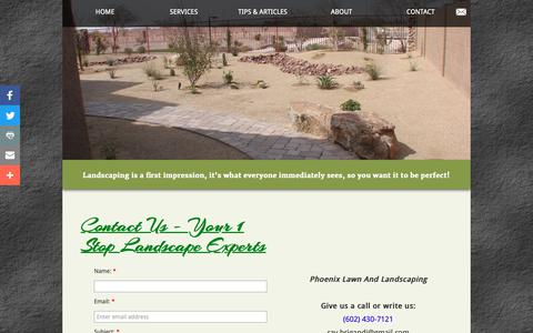 Screenshot of Contact Page phoenixlawnandlandscaping.com - Contact - captured Sept. 28, 2018
