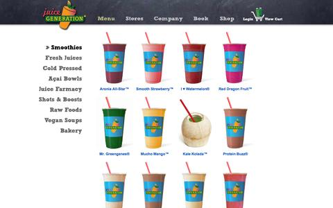 Screenshot of Menu Page juicegeneration.com - Juice Generation | Menu | Smoothies - captured Sept. 19, 2014