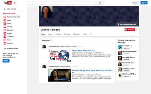 Screenshot of YouTube Page youtube.com - Lonnee Hamilton  - YouTube - captured Nov. 2, 2014