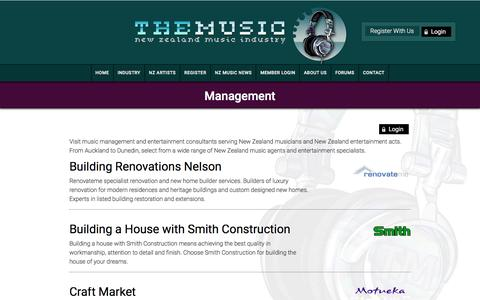 Screenshot of Team Page themusic.co.nz - Management -  NZ Music Industry - captured March 2, 2017