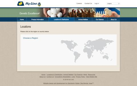 Screenshot of Locations Page hyline.com - Hyline: Locations,chickens,genetics,poultry,eggs,diseases,technology,breeds,farming,egg production - captured Sept. 30, 2018