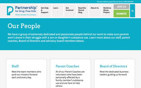 Screenshot of Team Page drugfree.org - Our People - Partnership for Drug-Free Kids - Where Families Find Answers - captured July 16, 2017