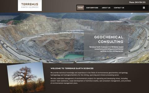 Screenshot of Home Page terrenus.com.au - Terrenus Earth Sciences   Geochemistry, Environmental Geology, Hydrogeochemistry, International Mining, Mineral Processing, Environmental Project Management - captured Oct. 6, 2014