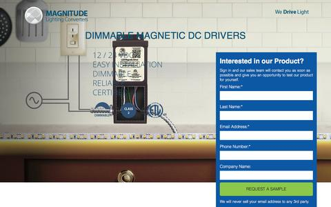 Screenshot of Landing Page magnitudeinc.com - magnetic-dc-landing-page - Magnitude Lighting Converters - captured Oct. 22, 2016