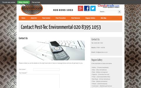 Screenshot of Contact Page pest-tec.co.uk - Contact Pest-Tec Environmental 020 8395 1053 - captured Oct. 2, 2014