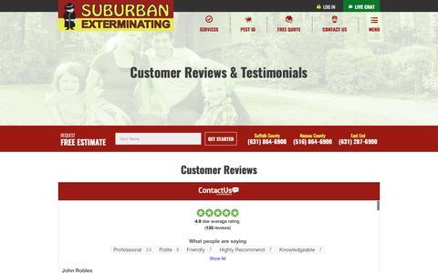Screenshot of Testimonials Page suburbanexterminating.com - Customer Testimonials For Suburban Exterminating Of Long Island, NY - captured March 22, 2017