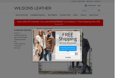 Screenshot of Support Page wilsonsleather.com - Customer Service                                           - Wilsons Leather - captured Nov. 23, 2015