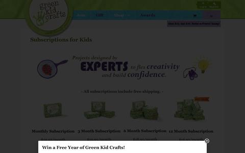 Screenshot of Signup Page greenkidcrafts.com - Subscriptions for Kids - Green Kid Crafts - captured Sept. 24, 2014