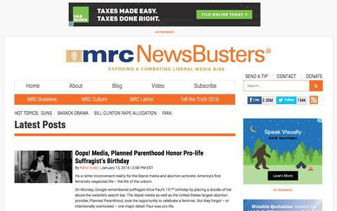Screenshot of Blog newsbusters.org - Latest Posts   NewsBusters - captured Jan. 13, 2016