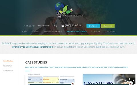 Screenshot of Case Studies Page akenergy.com - Case Studies - AK Energy - captured Nov. 11, 2018